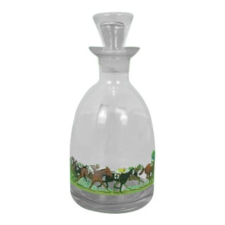 Hand-Painted Race Horses & Jockeys Glass Decanter Signed R Kuntz