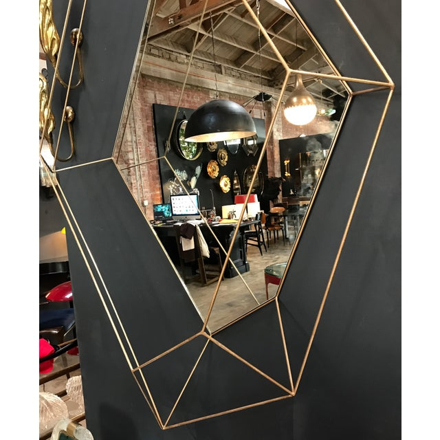 Italian Large Rhomboidal Sculptural Wall Mirror in Brass For Sale - Image 4 of 10