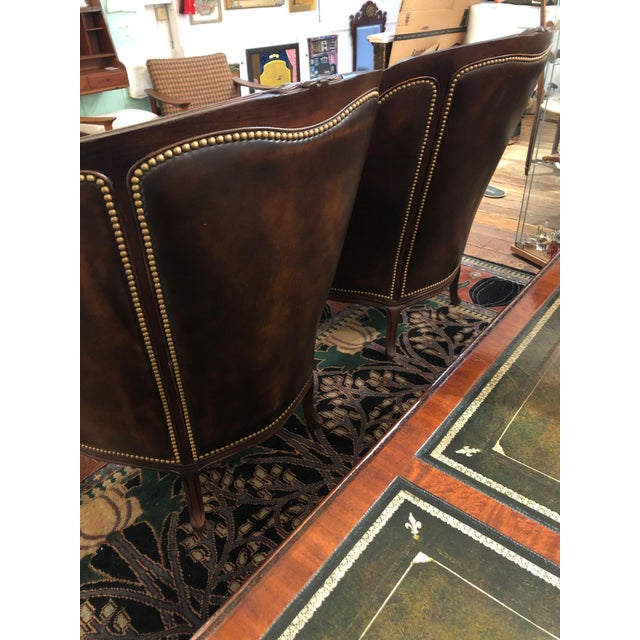 Metal Tufted Burnished Leather Club Chairs - a Pair For Sale - Image 7 of 13