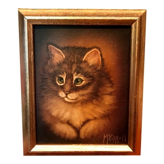 "Original ""Tabby Cat"" Vintage Oil Painting in Gold Frame For Sale"