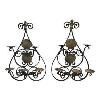 French Iron and Brass Sconces - A Pair