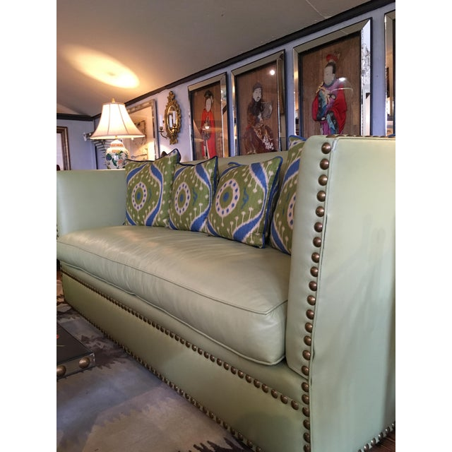 Leather Vintage Lime Leather George Smith Knole Style Sofa For Sale - Image 7 of 11
