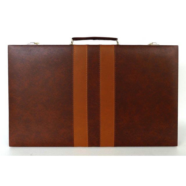 Vintage Large Leatherette Backgammon Set W/ Travel Case For Sale In Miami - Image 6 of 8
