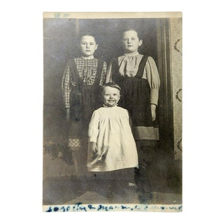 Vintage Stoic Kids Children Portrait Circa 1900 For Sale