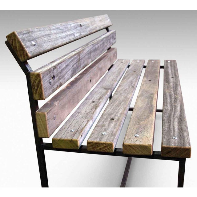 Outdoor bench from reclaimed new york city boardwalk wood for Reclaimed wood new york