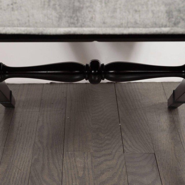 Wood Pair of Mid-Century Modern X-Form Benches in Ebonized Walnut and Platinum Velvet For Sale - Image 7 of 8