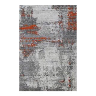 ABSTRACT ART ORANGE RUG 5'3''x 7'7''
