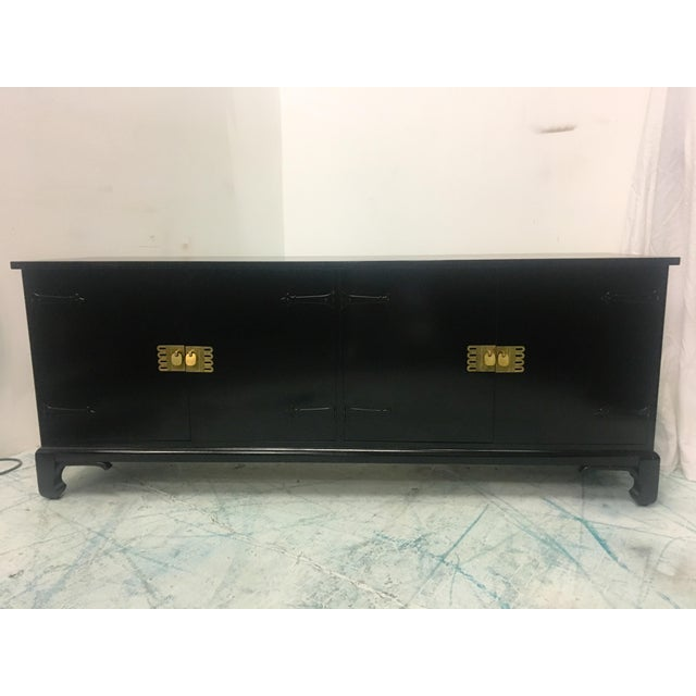 Asian Style Black Lacquered Credenza - Image 3 of 7