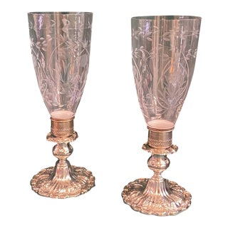 Reed and Barton Sterling Console Candlesticks With Hurricanes - a Pair For Sale