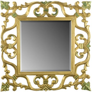 Carved Gilt Wood Mirror With Fleur-De-Lis Detail For Sale
