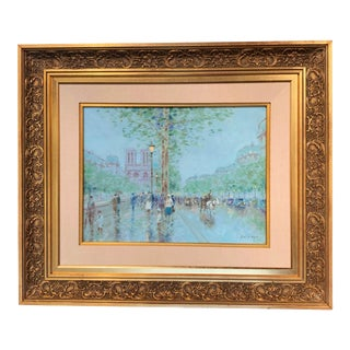 Late 20th Century Notre-Dame De Paris Oil on Canvas Painting in Carved Gilt Frame Signed Gisson For Sale