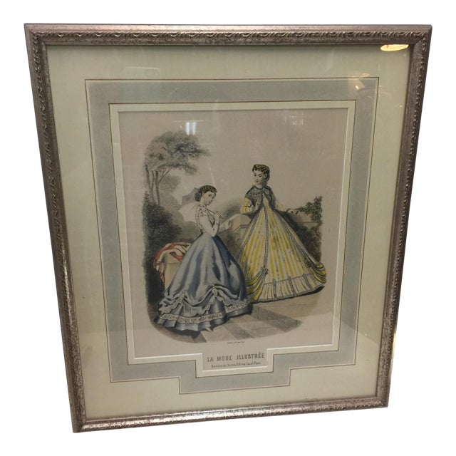 Antique French Fashion Print For Sale