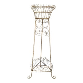 Victorian Wrought Iron and Metal Wire Plant Stand For Sale