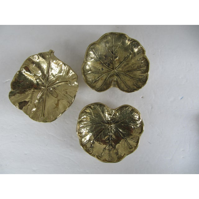 Virginia Metalcrafters Virginia Metal Crafters Brass Leaves-3 Pieces For Sale - Image 4 of 4