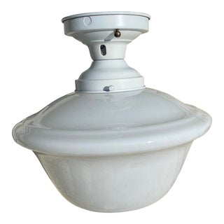 Vintage Schoolhouse Farmhouse Shade With Vintage Ceiling Fixture For Sale