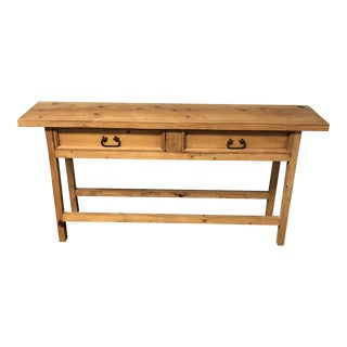 Two Drawers Pine Console Table