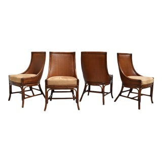Palecek Grass Cloth French Regency Style Center Dining Table & Chair Set For Sale