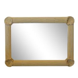 Hollywood Regency Nautical Wooden Rectangular Tan Seashell Beveled Wall Mirror For Sale