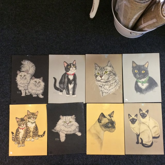 Vintage Cat Prints by Gladys Emerson Cook - Group of 8 For Sale - Image 13 of 13