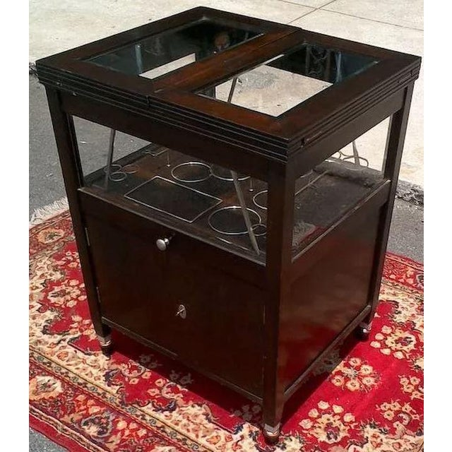 Vintage Bar Cart With Pop Up Center and Beveled Glass For Sale - Image 6 of 11