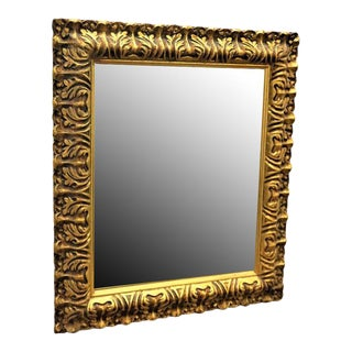 Mid-Century Carved Gilded Gold Wall Mirror