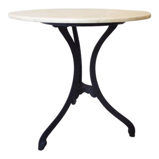 Vintage Black Iron, White Marble Top Cafe Table For Sale