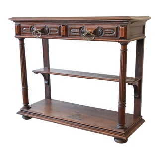 18th Century French Continental Walnut and Marble Sideboard or Liquor Console