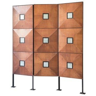 Mid-Century Modern 3 Section Room Divider/Screen With Light Blue-Green Art Tiles For Sale