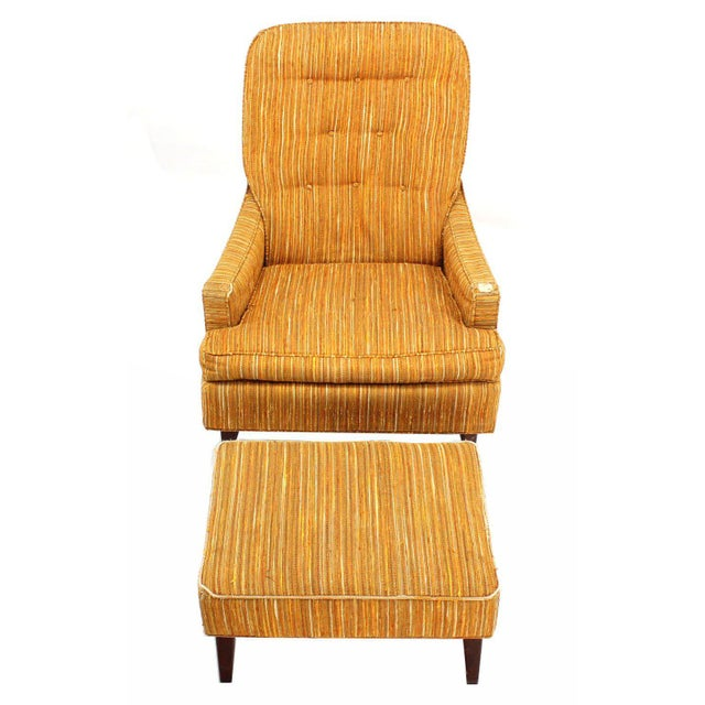 """Nice vintage mid-century modern lounge club chair with 24x18x13""""h foot stool. New upholstery recommended."""