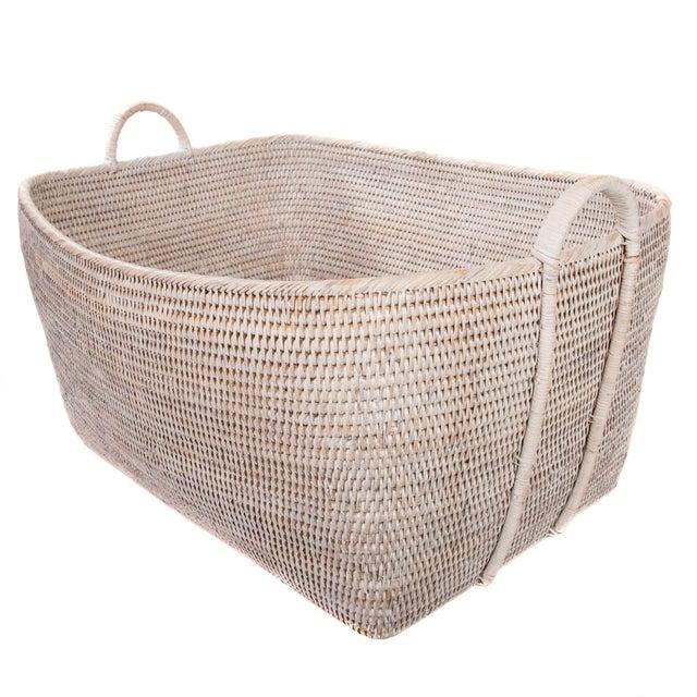 Artifacts Rattan Basket With Hoop Handles For Sale