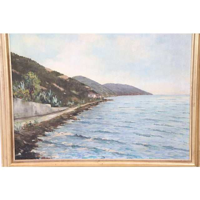 Beautiful painting circa 1940 signed in the lower right author not recognized. Subject the coast of Noli Italy realized...