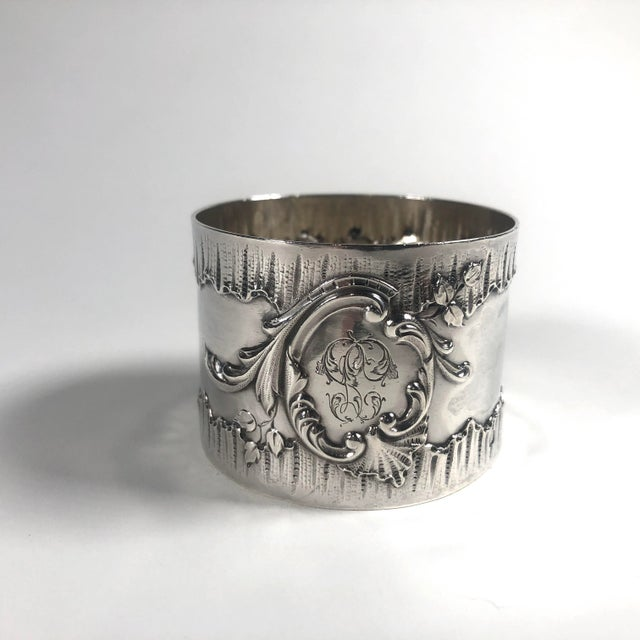 """A wonderful pair of French Belle Epoque """"His & Hers"""" (or Hers & Hers or His & His) Napkin Rings in solid silver..."""