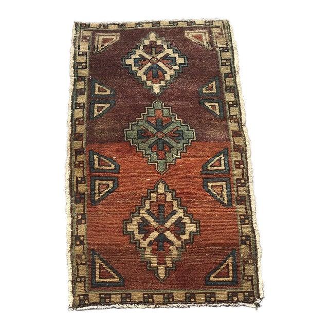 Vintage Oushak Handmade Floor Rug- 1′6″ × 2′10″ For Sale