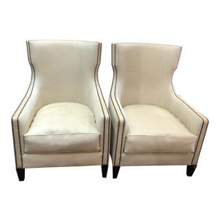 Cream Leather High Back Chairs by Oly - a Pair For Sale