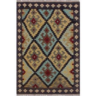 Navajo Style Kilim Jeannett Grey/Lt. Blue Hand-Woven Wool Rug- 3′5″ × 4′11″ For Sale