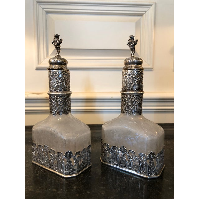 Neoclassical 18th Century German Silver Encased Etched Glass Decanters Augsburg 1781 - a Pair For Sale - Image 3 of 13