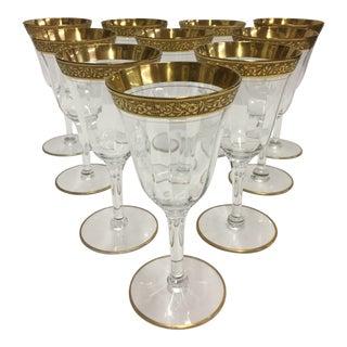 Tiffin Rose Gold Rimmed Wine Glasses - Set of 10