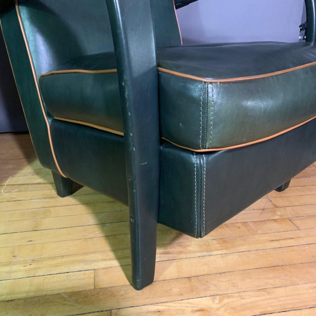 Tan Pair Baxter Italia Green Leather Armchairs, 1990 For Sale - Image 8 of 11