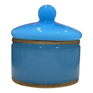 Antique French Blue Opaline Trinket Box For Sale