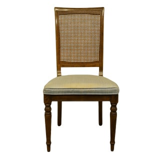 Late 20th Century Ethan Allen Classic Manor Cane Back Dining Side Chair For Sale
