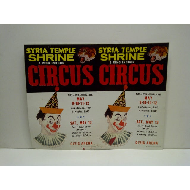 This is an Un-Cut Printers Poster Of 2 Posters -- Syria Temple Shrine -- 3-Ring Indoor Circus -- Civic Arena --...