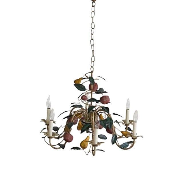1970s Vintage Shabby Chic Tole Chandelier For Sale