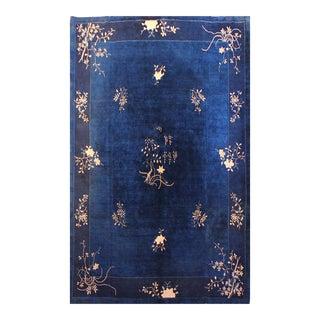 Rare Blue Authentic Chinese Antique Peking Art Deco Rug - 8' X 10'