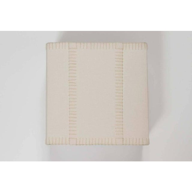 Modern Hand-Stitched Laced Linen Shaded Wall Sconces For Sale - Image 3 of 7