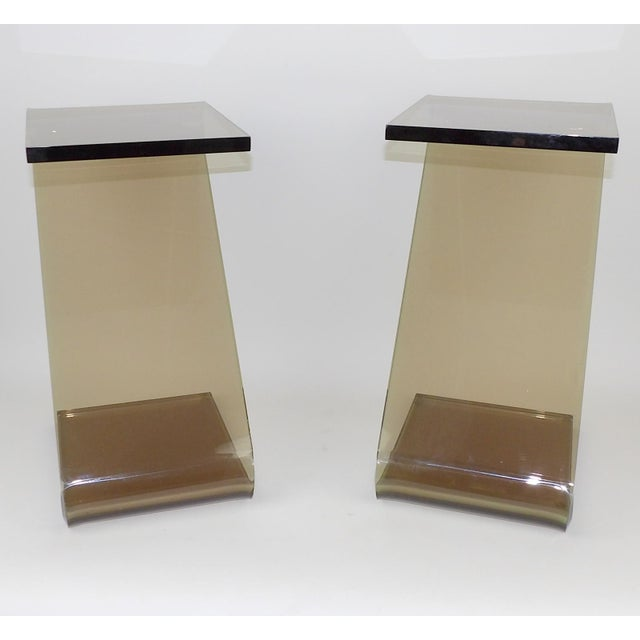 """Shlomi Haziza Acrylic Bent Lexan Lucite """"Z"""" End Tables / Nightstands - a Pair For Sale In Sacramento - Image 6 of 12"""