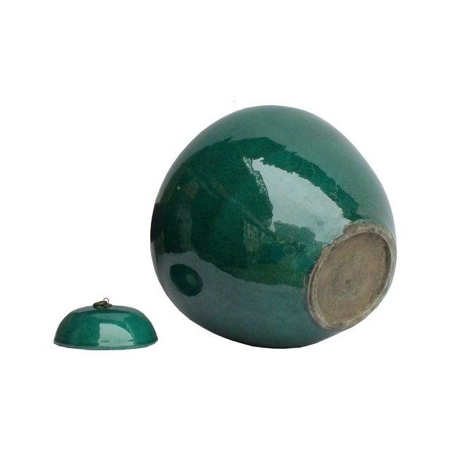 Chinese Teal Green Porcelain Ceramic Fat Jar & Lid - Image 2 of 4