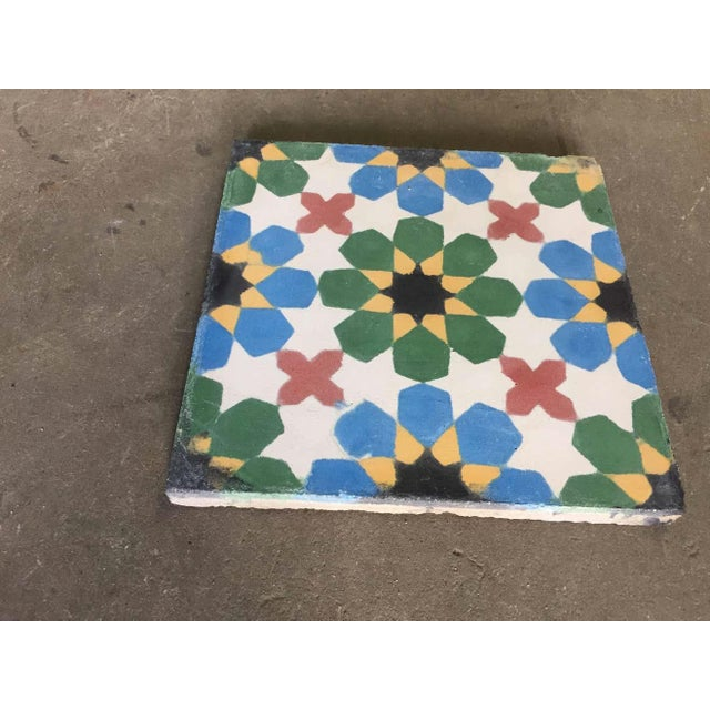 Encaustic 1990s Moroccan Hand-Crafted encaustic Cement Tile with Traditional Fez Moorish Design - Set of 56 For Sale - Image 7 of 13