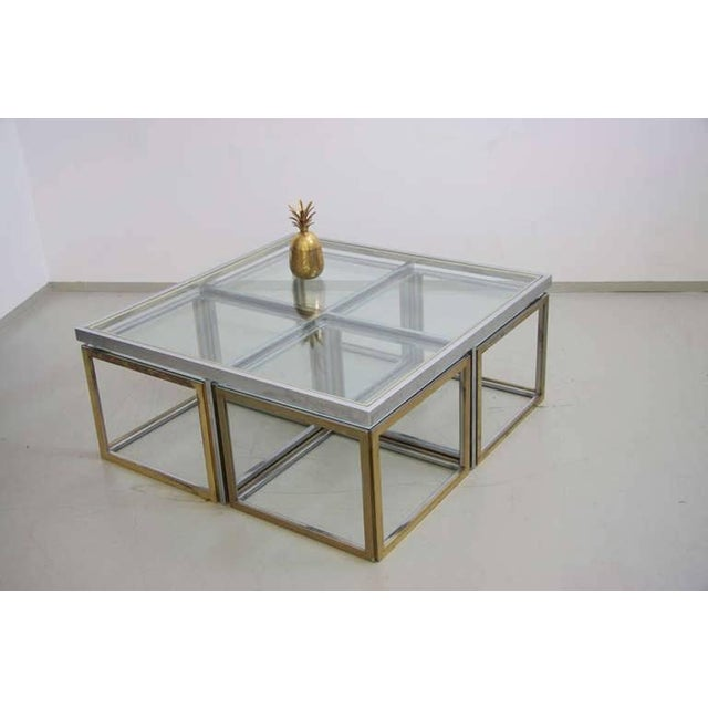 Hollywood Regency Maison Charles Brass Coffee Table with Four Nesting Tables For Sale - Image 3 of 6