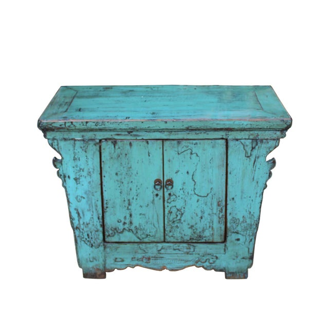This is an old used altar side table cabinet made of rustic raw wood in an oriental simple style. The structure is fine....