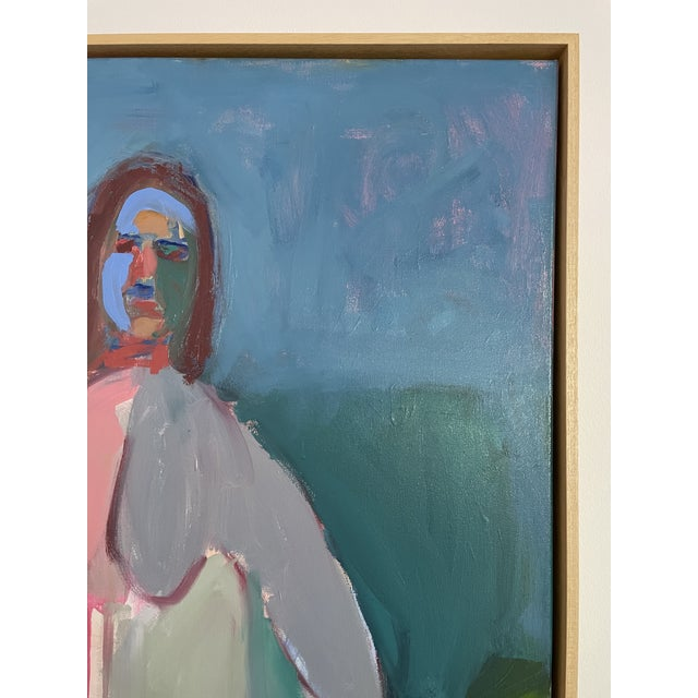 Canvas Contemporary Figurative Abstract Female Oil Painting, Framed For Sale - Image 7 of 8
